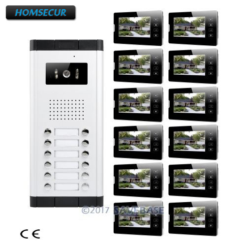 HOMSECUR 7 LCD Wired Video Door Entry Call Intercom Support Electric Lock for 12 Apartment dr martens мокасины