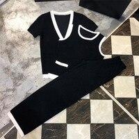 Женские офисные костюм женский 2018 Для женщин летние Вязание Широкие штаны женщина костюм осенний комплект 3 предмета комплекты