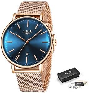 Image 5 - 2019 Womens Watch LIGE Top Brand Luxury Women Fashion Casual All Steel Ultra Thin Mesh Belt Quartz Clock Relogio Feminino+Box