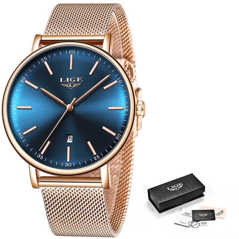 2019 montre pour femme LIGE haut marque de luxe femmes mode décontracté tout acier Ultra-mince maille ceinture Quartz horloge Relogio Feminino + boîte