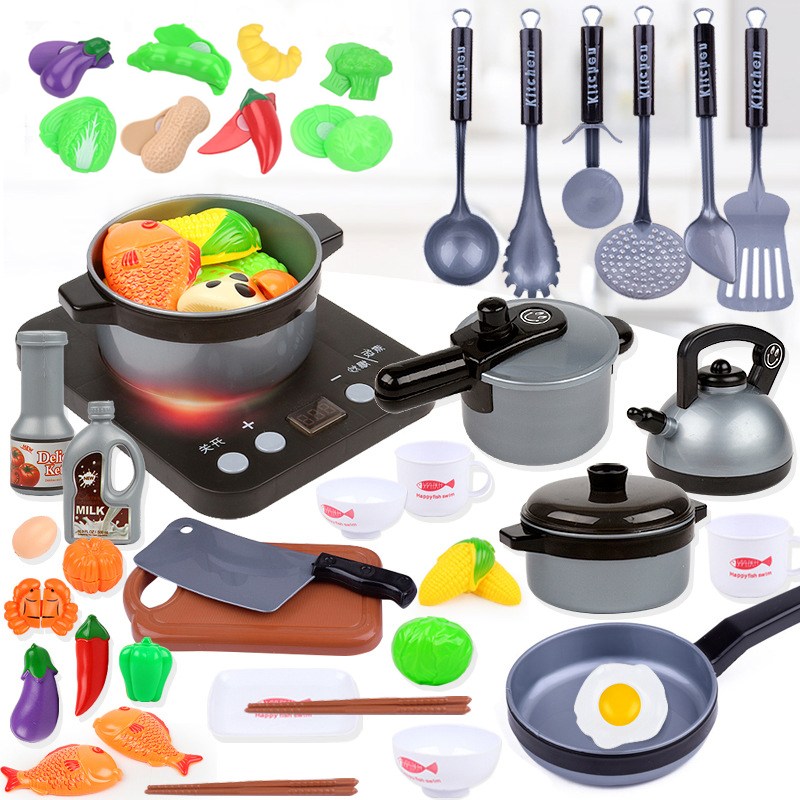 44 Pieces Children Mini Kitchen Toy Cookware Pot Pan Kids Pretend Cook Play Toy Simulation Kitchen Utensils Toys Children Gift