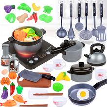 44 Pieces Children Mini Kitchen Toy Cookware Pot Pan Kids Pretend Cook Play Toy Simulation Kitchen Utensils Toys Children Gift цена