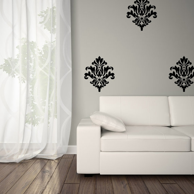damask vinyl wall decal self adhesive wall pattern stickers , large