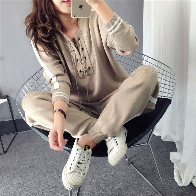 Womens Time-limited Blends Full Criss-cross Hooded Two Piece Sets 2018 Sweat Suits Women 2 Outfits For Set Top And Pants