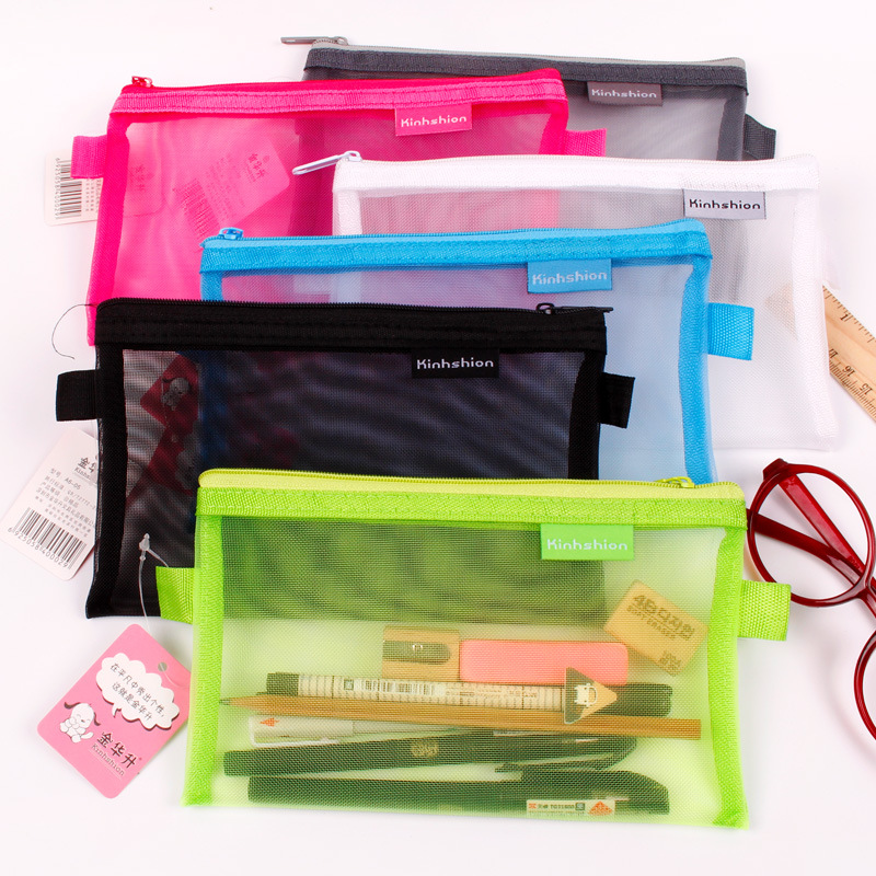 New Simple Transparent Mesh Pencil Case Office Student Pencil Cases Nylon Kalem Kutusu School Supplies Pen Box Astuccio Scuola