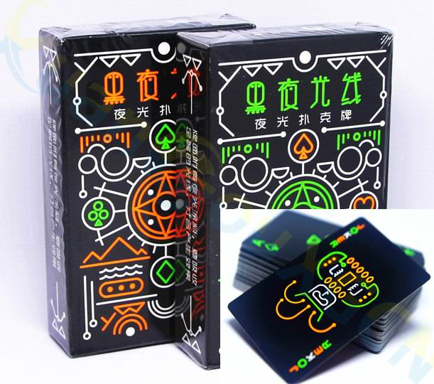 Luminous Fluorescent Poker Cards Cool Black Glow Dark Bar Party KTV Luminous Playing Cards Collection Special Poker Board Game