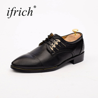 Ifrich New Arrival Men Causal Dress Shoes Comfortable Male Luxury Brand Platform Footwear Lace Up Black
