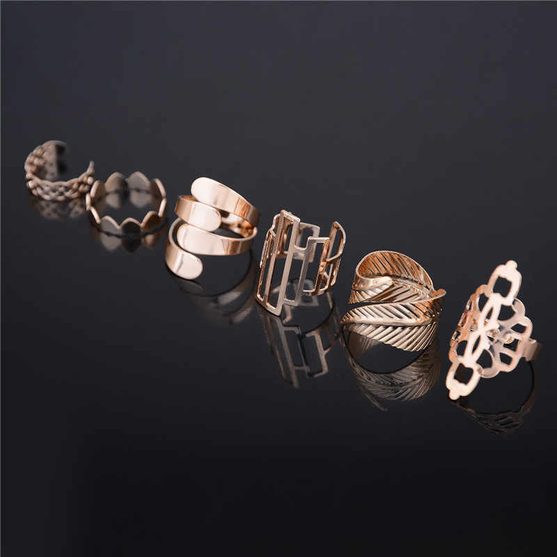 6pcs/set Gold Color Fashion Popular Style Adjustable Open Ring Set for Girls Gift Shiny Finger Rings Sets Jewelry