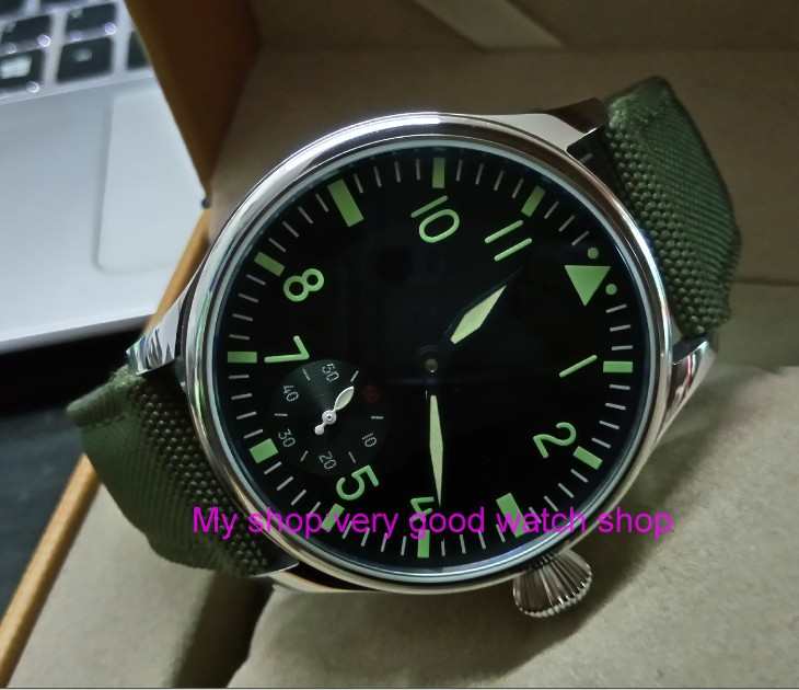green luminous 44mm parnis 6498 / ST3621 17 jewels Mechanical Hand Wind movement butterfly buckle mens watches 379Agreen luminous 44mm parnis 6498 / ST3621 17 jewels Mechanical Hand Wind movement butterfly buckle mens watches 379A