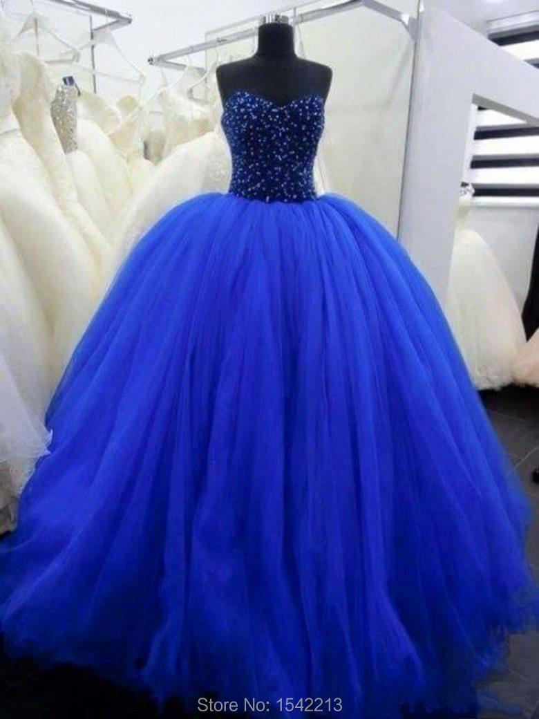 Attractive Blue Sweetheart Beaded Quinceaneran Dress Ball Gown Style Vestidos Girl Sweet 15
