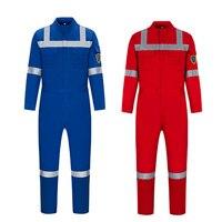 100% хлопок огнезащитный комбинезон Синий FR Рабочие Комбинезоны со светоотражающей ленты Рабочая одежда