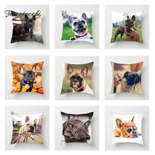 Fuwatacchi Animals French Bull Cushion Cover For Sofa Home Decor Cute Poppy Photo Pillow Decorative Pillowcase