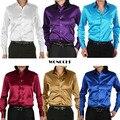 2015 Новая модная мужская рубашка из тонкого шелкавысокого качества, облегающая, с длинным рукавом, для смокинга Рубашки мужские Рубашки с запонками 21 цвет, S - XXXL