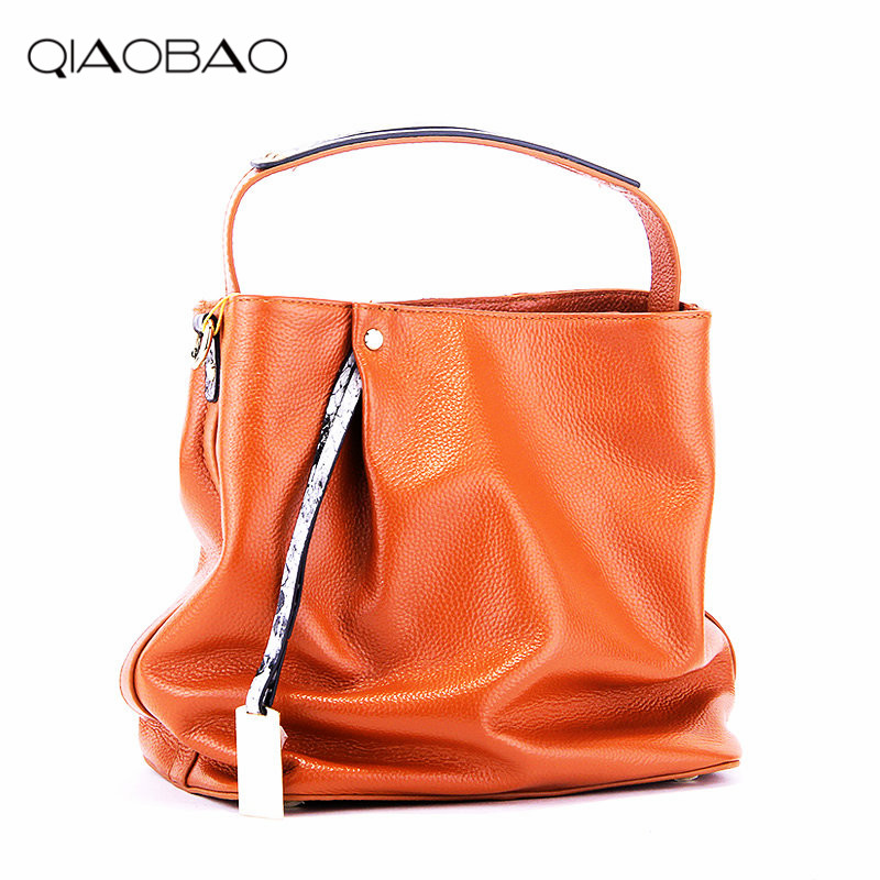 QIAOBAO 100% Genuine Leather Bags Women's Bucket Famous Brand Designer Handbags High Quality Tote Shoulder Messenger Bags Dollar high quality famous brand upscale 100