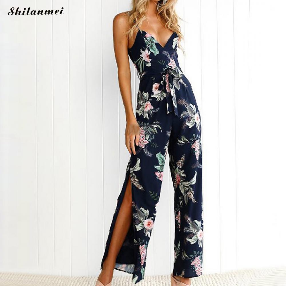 Bohemian Women Rompers floral print deep V Jumpsuit Summer beach off shoulder Overalls Female party backless side slit Playsuit