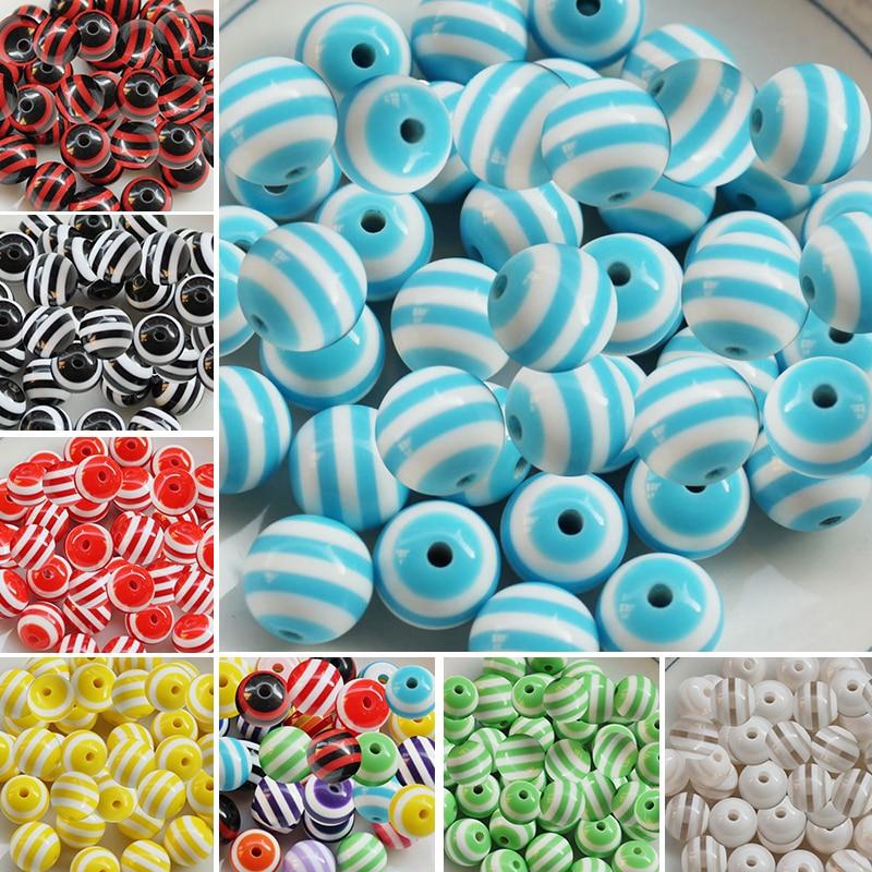 9 Цвета Палочки 8 мм акриловые круглые Форма полосой бусины для изготовления ювелирных изделий Оптовая Продажа много 100 шт.