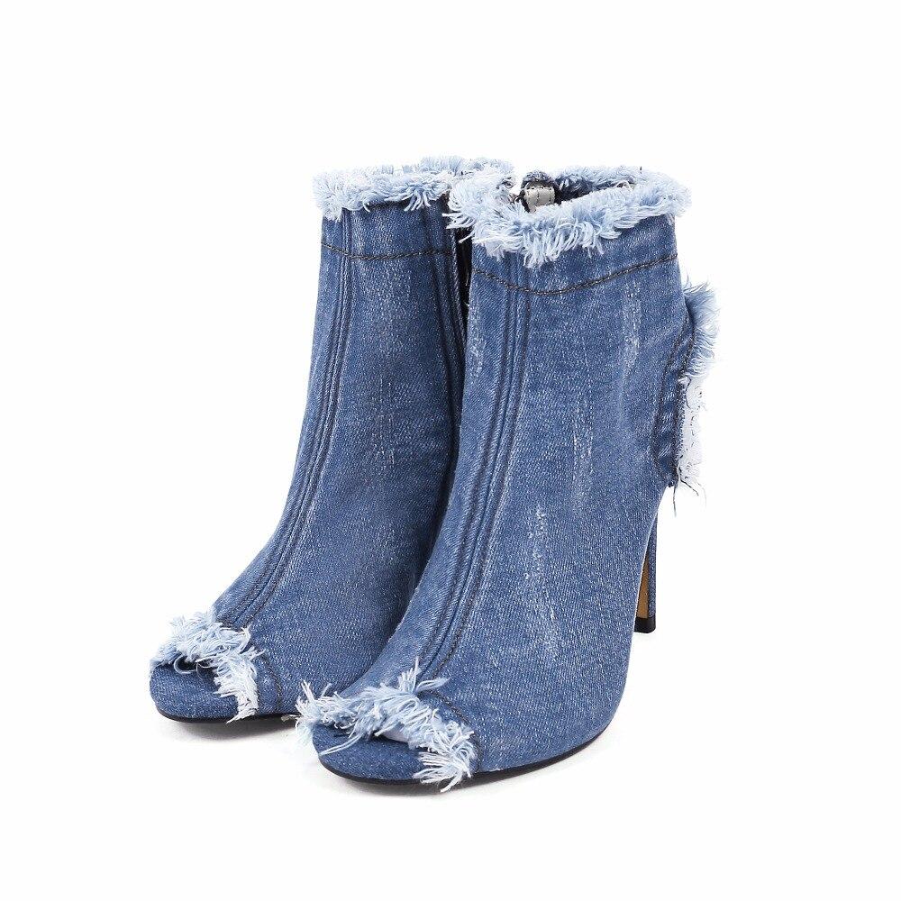 Talons Bleu Peep Bottes Blue toe Denim Chaussures Chelsea Femme Blue Pour Sexy Femmes Dark Jeans Haute light D'été Stiletto 2017 Cheville 44qPwrC