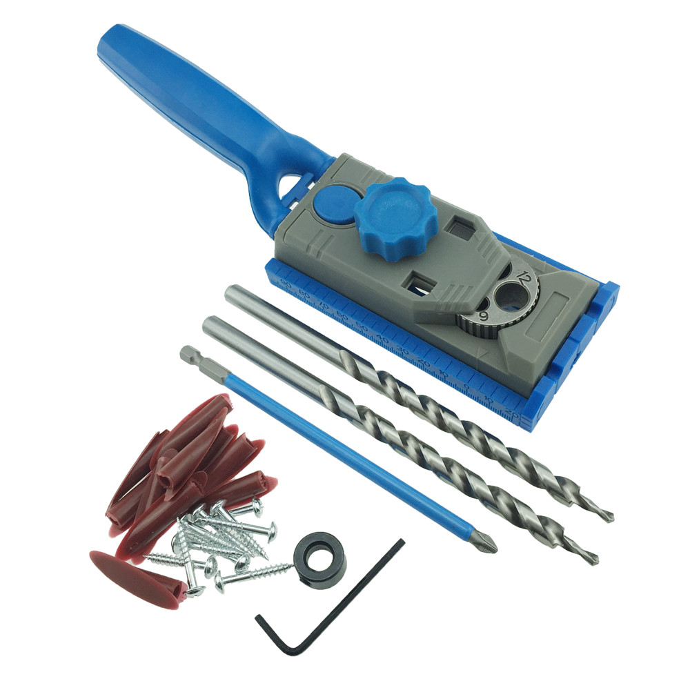 Pocket Hole Jig System Drill Guide for Kreg Wood Doweling Joinery Screws Clamping Jig Woodworking Drilling + 2PC Drill Bit woodworking drill guide pocket hole jig 6 8 10mm mini drill bit sleeves for kreg pocket hole doweling joinery diy repair tools