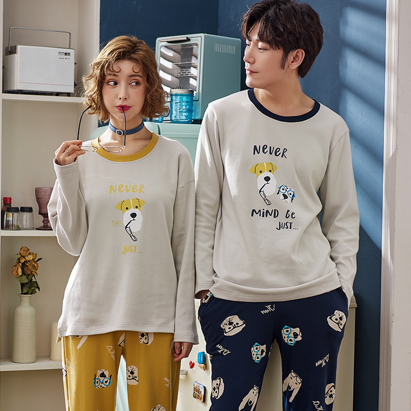 J&Q New Pajamas Couple Women Pajamas Set 2 Pcs Pyjamas Set Night Suit 100% Cotton Brand Pijamas Men And Women Matching Pajamas