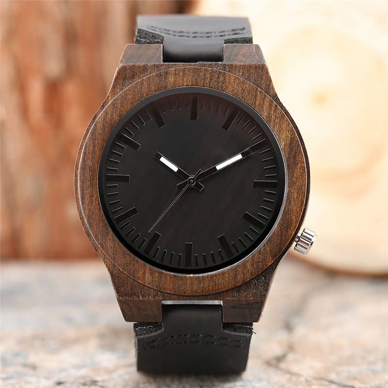 Fashion Cool Ebony Nature Hand-made Design Men Quartz Wristwatch Black Genuine Leather Band High Quality Male Wooden Watch Gift fashion cool punk rock design men quartz wooden watch modern black genuine leather watchband unique wood watches gift for male