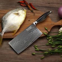 Нож Кливер sunnecko vg10 из дамасской стали японские кухонные