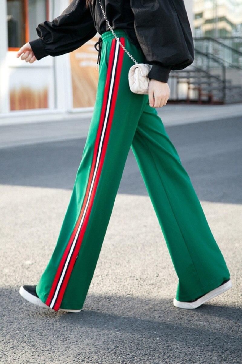 2018 осенне зимние модные дизайнерские штаны с высокой талией, в полоску, широкие штаны, однотонные, черные, белые, зеленые, размер XS 2XL, длинные брюки - 3