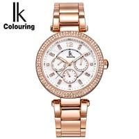 IK Colouring Women Watch Luxury Rhinestone Multifunction Analog Quartz Watch Female Wristwatch Lady Clock Relogio Feminino