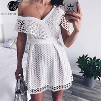 Lily Rosie Girl Sexy Ruffle Short Sleeve Dress Women White Lace Mini Sweet Pink Dresses V neck Party Beach One Shoulder Vestidos
