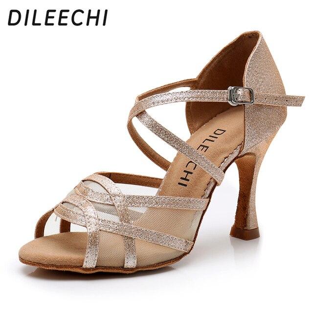 DILEECHI sapatos de dança Latina de Mulheres Cetim Flash Prata Ouro Preto ampla fina 9 cm de salto alto Desempenho sapatos de dança de Salão Salsa sapatos