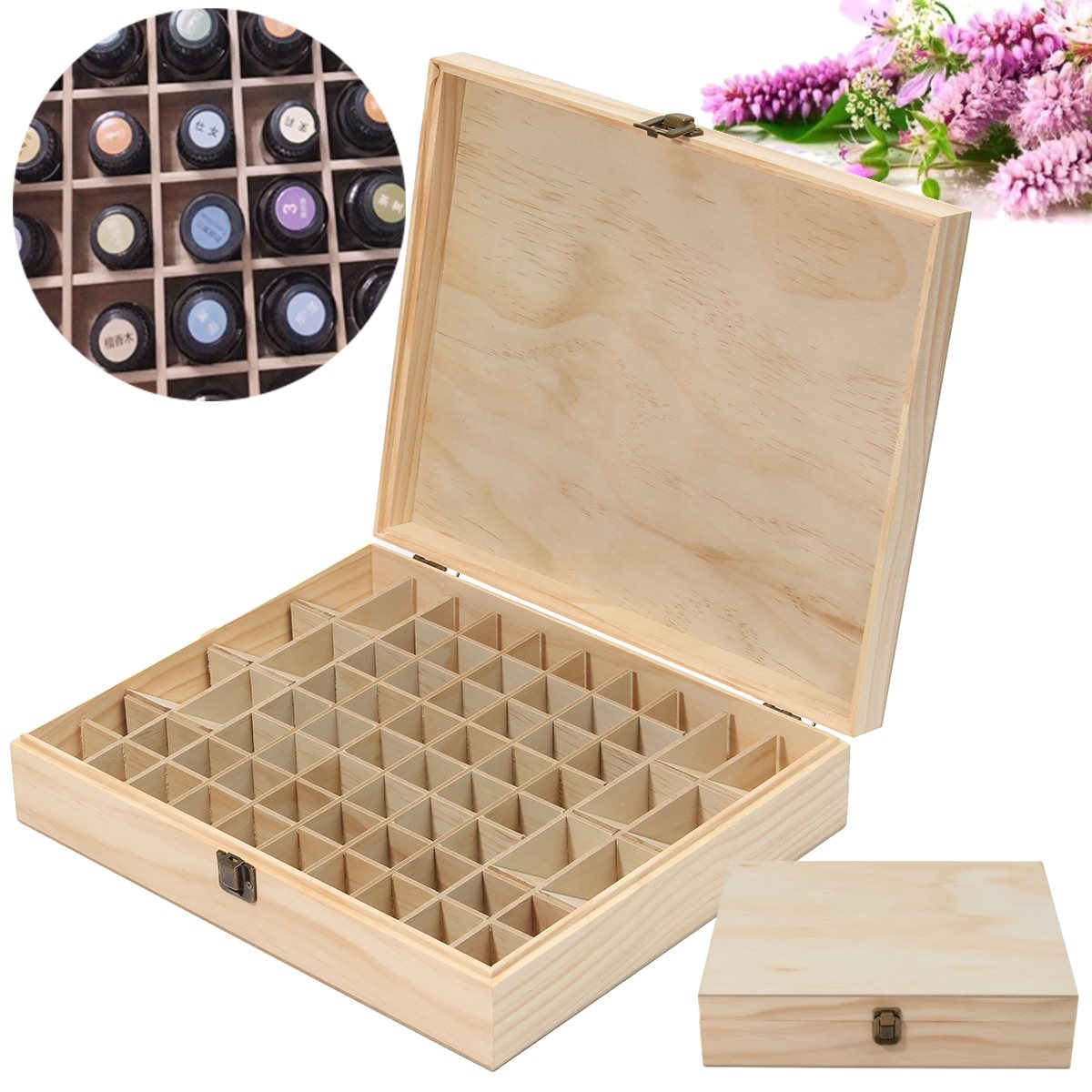 wooden box case 68 essential oil bottles metal lock jewelry treasure container carry organizer storage - Metal Storage Containers