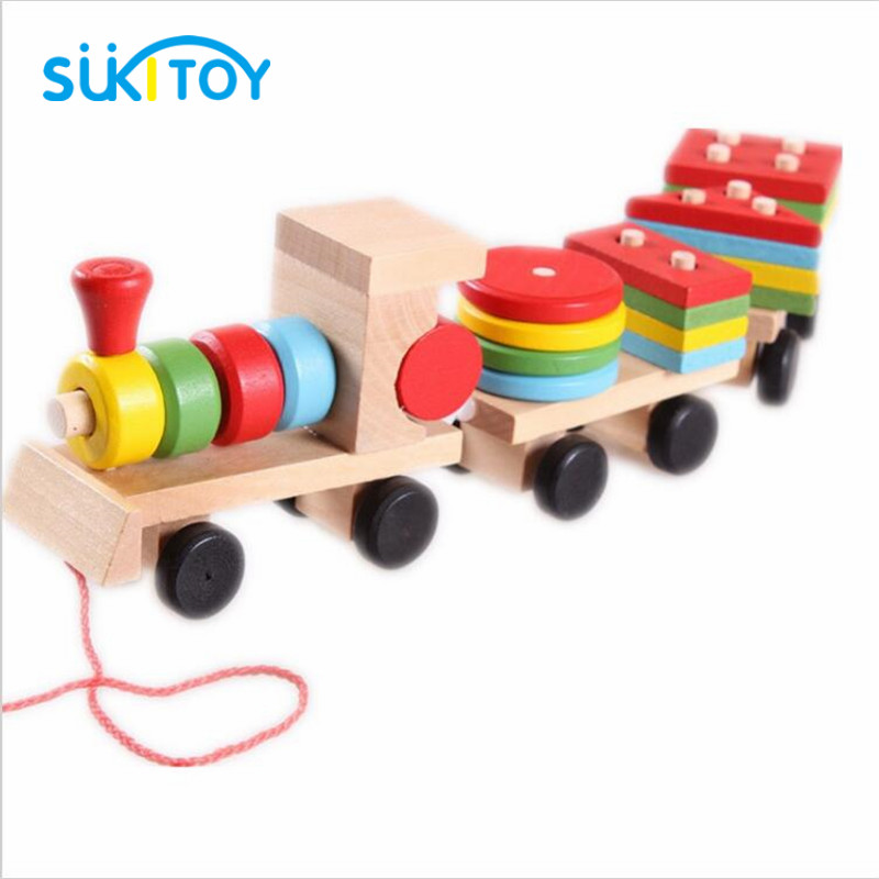 SUKIToy classic wooden models building toys blocks train for children boys Montessori game for kids gift shape matching