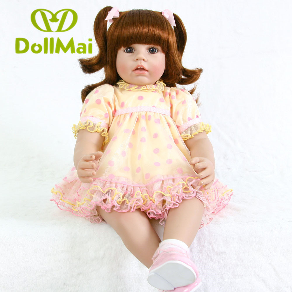 New arrival 60 cm Silicone reborn doll 24 inch Lifelike Toddler Baby Girl Doll Reborn babies real vinyl dolls for kids JuguetesNew arrival 60 cm Silicone reborn doll 24 inch Lifelike Toddler Baby Girl Doll Reborn babies real vinyl dolls for kids Juguetes