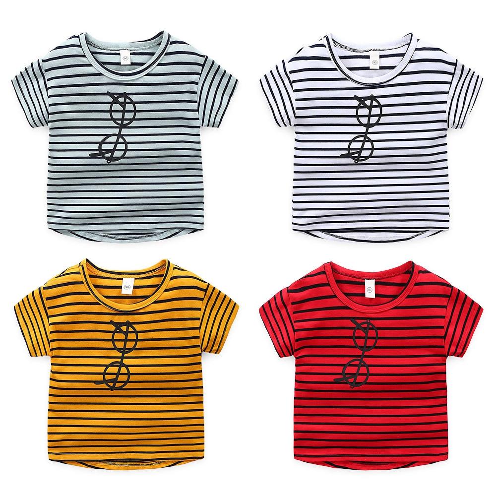Baby Boy Girl Stripe Cotton T-shirt Kids Toddler Short Sleeve Tee Shirt Top