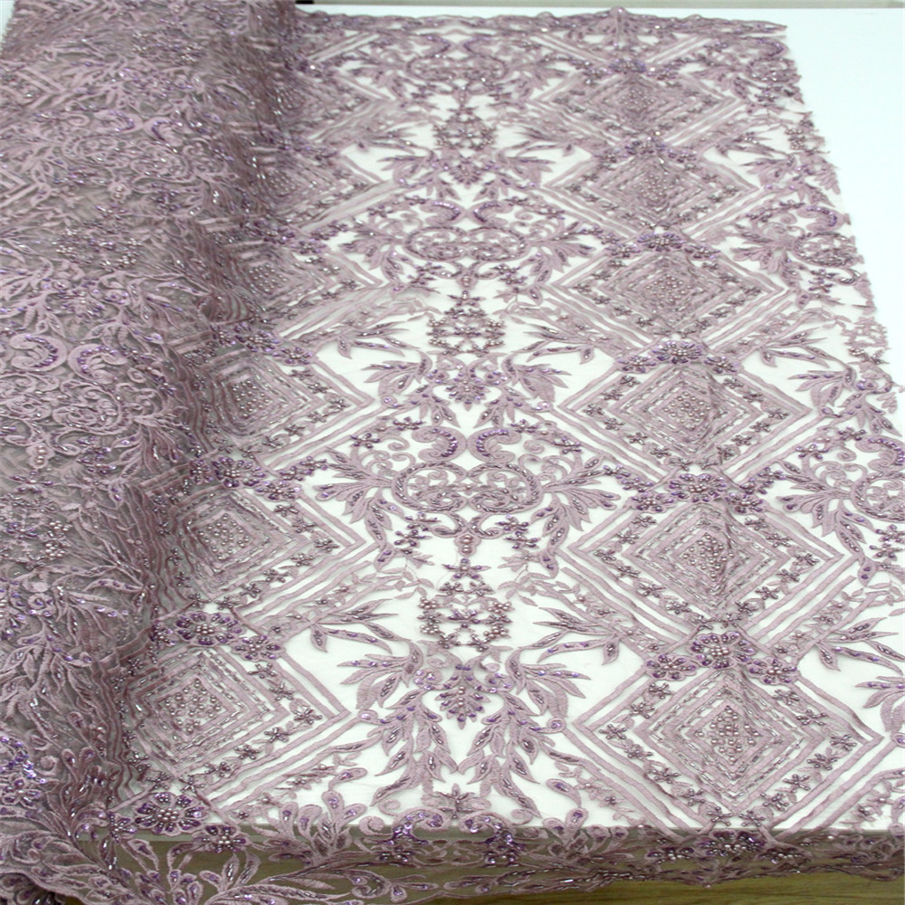 heavy beaded lace fabric handmade 3d flower luxury french net lace 2018 bridal lace fabric dentelle tissu 5yard/lot F156 2