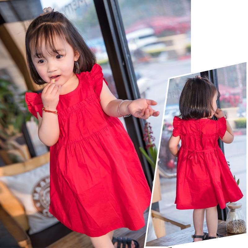 2019 nye røde børn kjole koreansk pige flyvende ærmer bomuld - Børnetøj