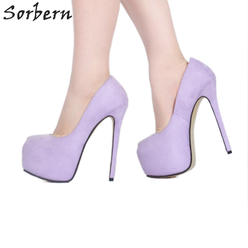 Sorbern Lavender Peep Toe Women Pump 2018 Women High Heels Size 11 Shoes Woman Pumps Slip On Custom Color Ladies Dress Shoes meotina women wedding shoes 2018 spring platform high heels shoes pumps peep toe bow white slip on sexy shoes ladies size 34 43