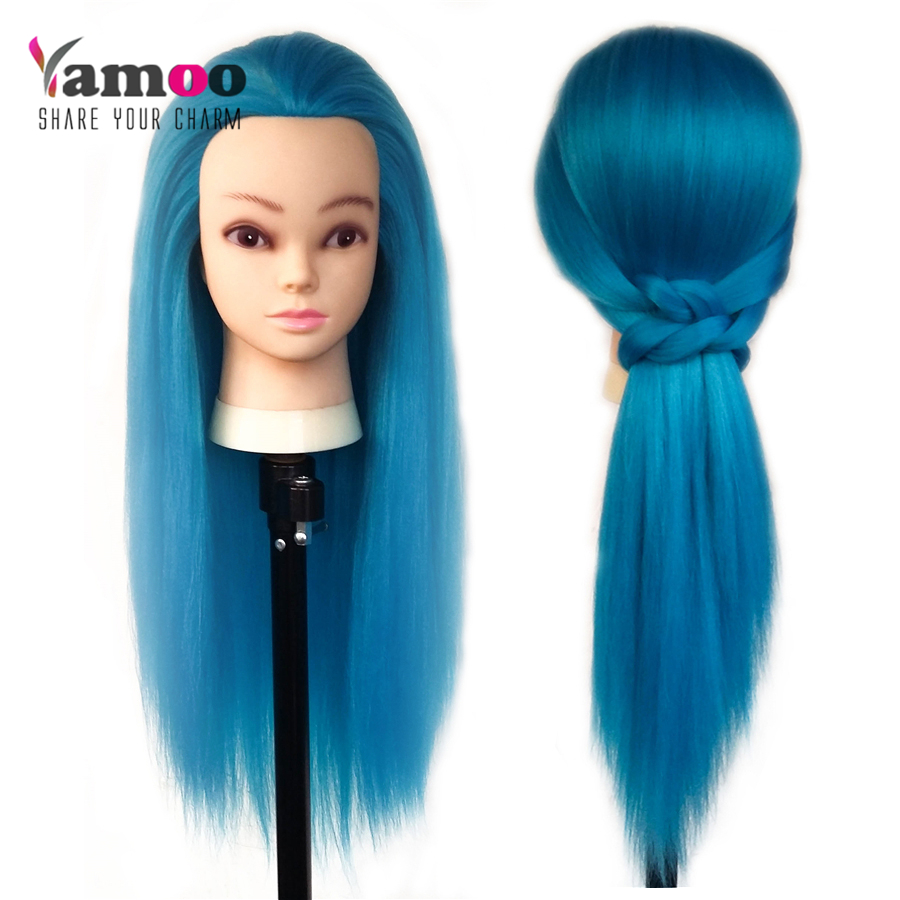 professional hair styling head professional65cm blue color fiber wonderful hair 7893 | Professional65cm blue color Fiber wonderful Hair Female Mannequin Hairdressing Styling Training Head high quality Mannequin Head