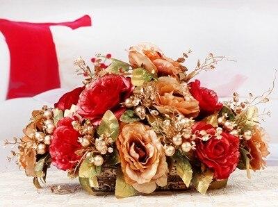 Искусственный цветок набор, искусственный цветок украшение, Шелковый цветок розы украшение стола. Рождественские украшения для дома - 3