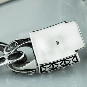 Image 3 - Стерлинговое Серебро 925 пробы, винтажный резной браслет с черепом и цепочкой, S925