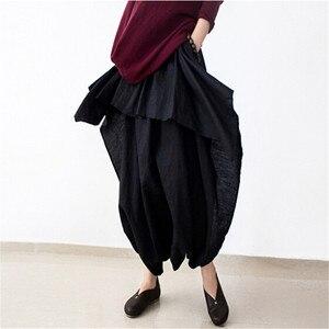 Image 4 - Johnature 2019 nowych kobiet szerokie nogawki luźna, z lenu bawełniane asymetryczne spodnie oryginalny projektant Plus rozmiar Capris elastan spódniczka z wysokim stanem