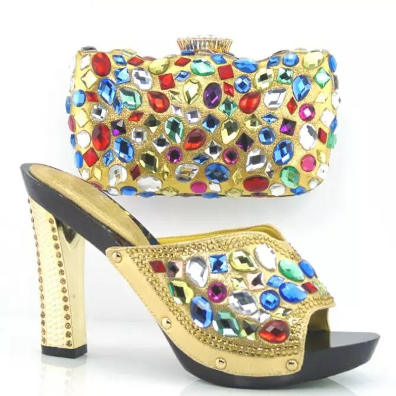 ФОТО Most Popular African Shoes And Matching HandBag Set With Stones,Fashion Women Shoes And Bags Set In GOLD For Party
