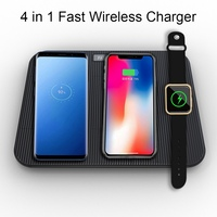 4 in 1 Mobile Phone / Watch Chargers Wireless USB Powered Automatic Power Off Adapter Charging Pad Power Bank For iPhone Samsung