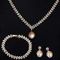 18 k oro verdadero plateado White Pearl juegos de joyería collar / pendientes / pulsera Zirconia cúbica configuración joyería nupcial Wedding Sets