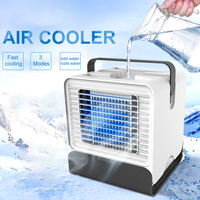 New Air Cooler USB Portable Air Conditioner Desktop Mini Fan Negative Ion Humidifier Purifier with Night Light 150ml Water Tank