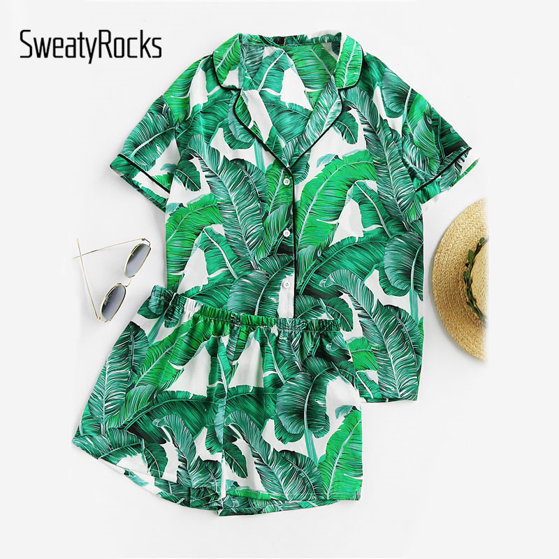 SweatyRocks Green Palm Leaf Print Revere Collar Pajama Set Summer Casual Sleepwear Women Elastic Waist Sleepwear With Botton