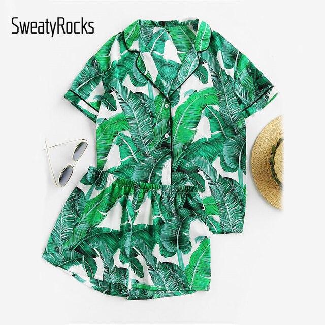 1dfb69bda9361 SweatyRocks vert feuille de palmier imprimé Revere col pyjama ensemble été  décontracté vêtements de nuit femmes