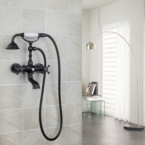 New Oil Rubbed Bronze Double Handle/Hole Bathtub Tap Torneira Wall Mount Waterfall Bathroom Basin 8861A Sink Faucet Mixer Tap short double handles bathtub torneira wall mounted oil rubbed black bronze 97114 bathroom basin sink tap mixer faucet