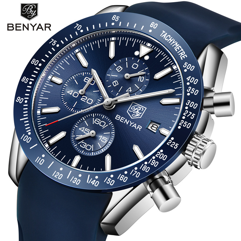 все цены на BENYAR Casual Fashion Men Watches Silicone Strap Waterproof Sports Quartz Chronograph Military Watch Men Clock Relogio Masculino онлайн
