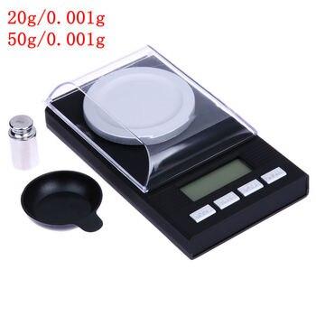 المحمولة البسيطة 20g/0.001g 50g/0.001g مقياس رقمي LCD الإلكترونية قدرة التوازن الماس والمجوهرات عالية الدقة جيب مقياس