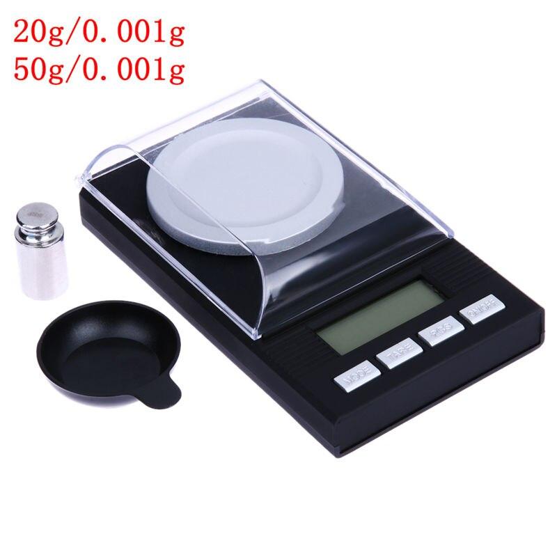 Tragbare Mini 20g/0,001g 50g/0,001g Digital Waage LCD Elektronische Kapazität Balance Diamant Schmuck hohe Präzision Tasche Skala